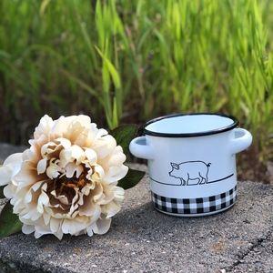 NWT - PIG Enamel Vase - Farmhouse Style Charm